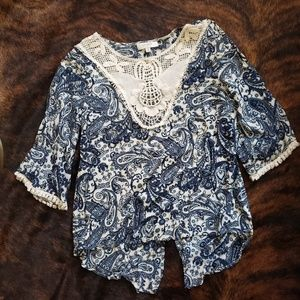 Dressy navy and lace top